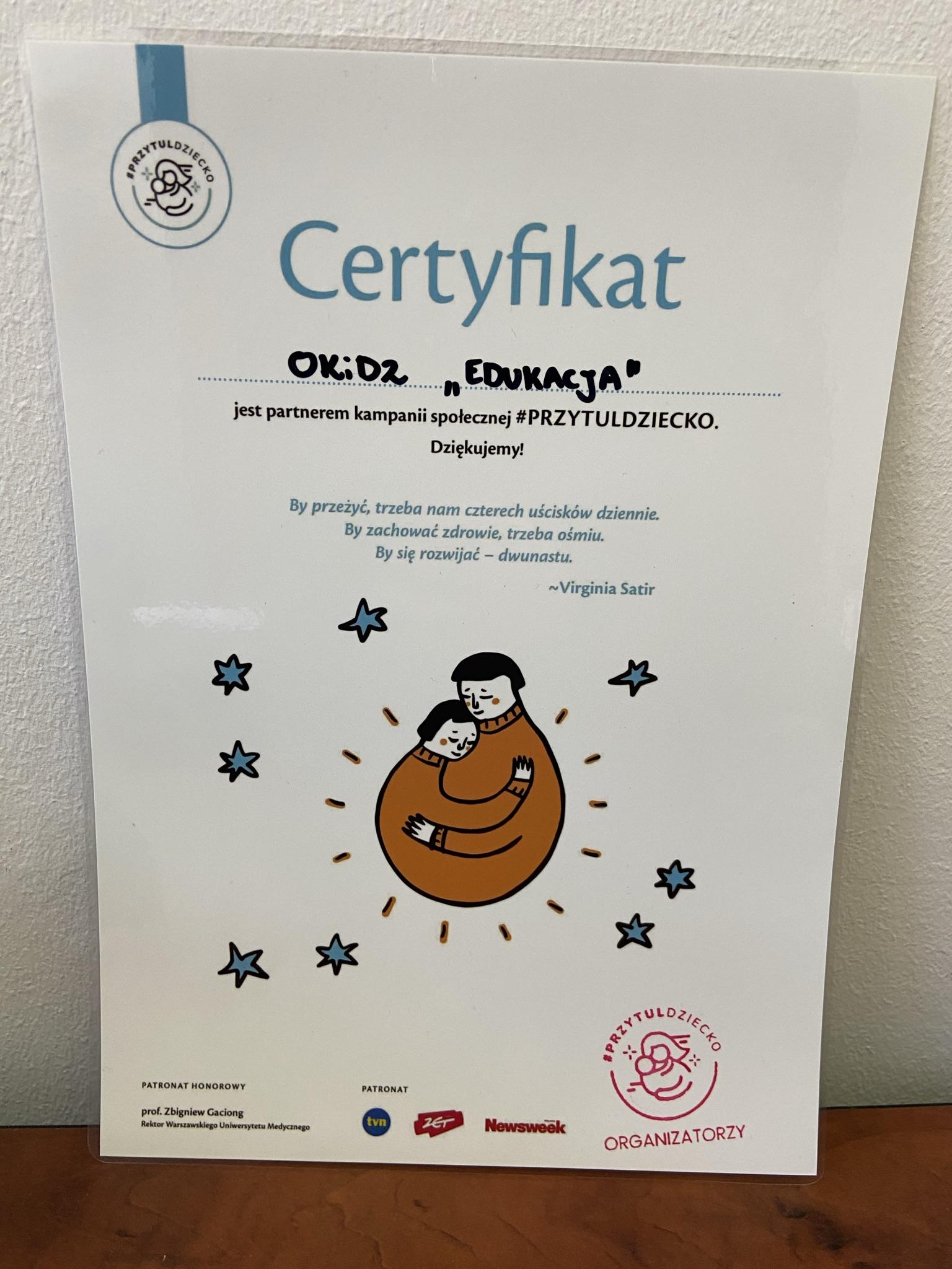 Certyfikat akcji #przytuldziecko