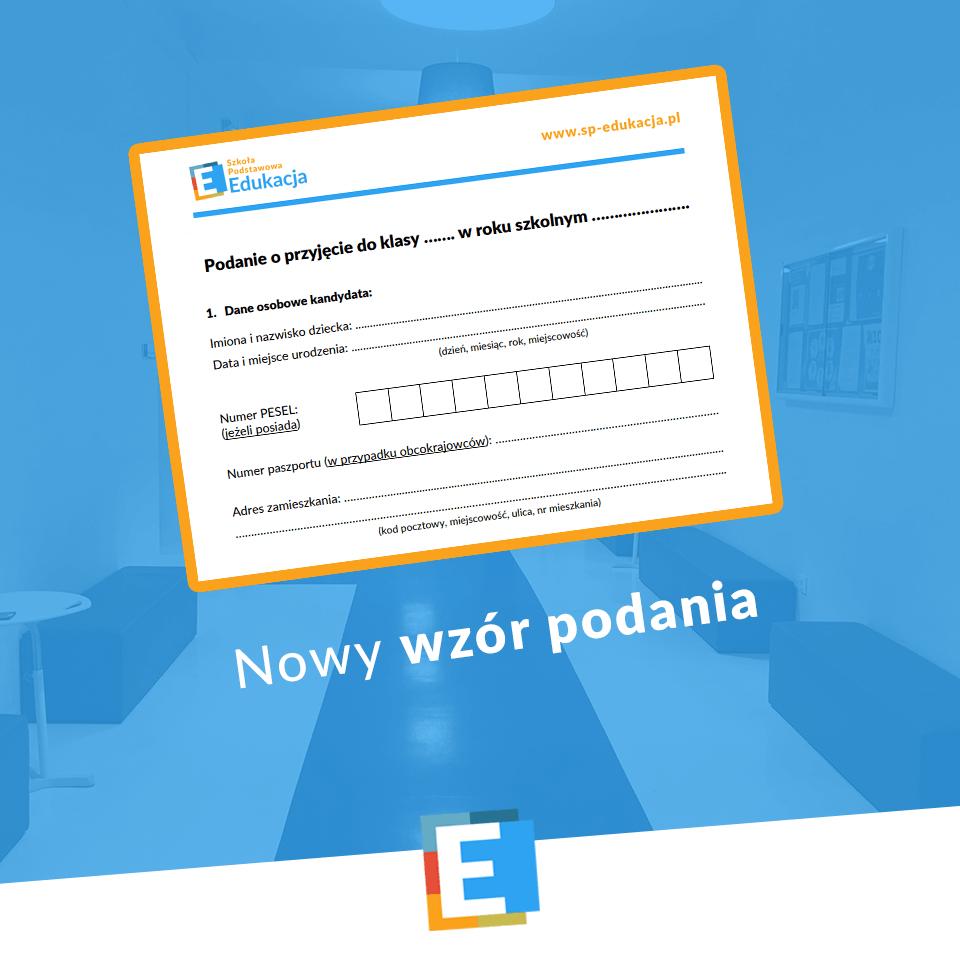 Nowy wzór podania SP Edukacja Wrocław